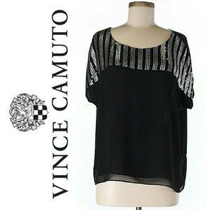 Vince Camuto Scoop Neckline short sleeve sequin
